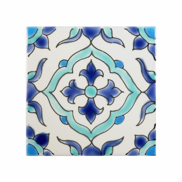 Mediterranean 4 x 4 Ceramic Carthage Decorative Tile in Blue/White by Casablanca Market