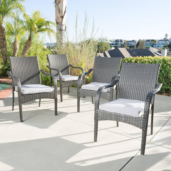 Deanna Stacking Patio Dining Chair with Cushion (Set of 4) by Latitude Run