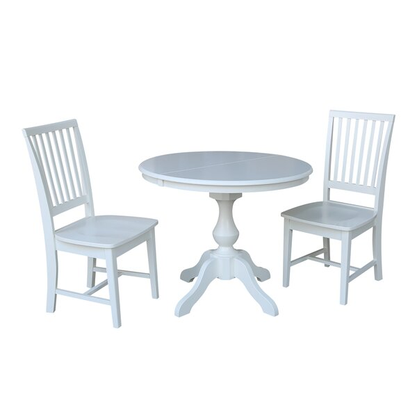 Petties 3 Piece Extendable Solid Wood Dining Set by Alcott Hill