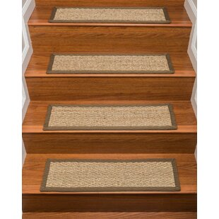 Half Panama Seagrass Carpet Beige Stair Treads (Set Of 13)