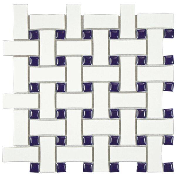 Retro Basket Weave Random Sized Porcelain Mosaic Tile in White and Cobalt by EliteTile