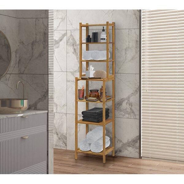 Ahriah 14.5 W x 63.75 H x 12 D Solid Wood Free-Standing Bathroom Shelves