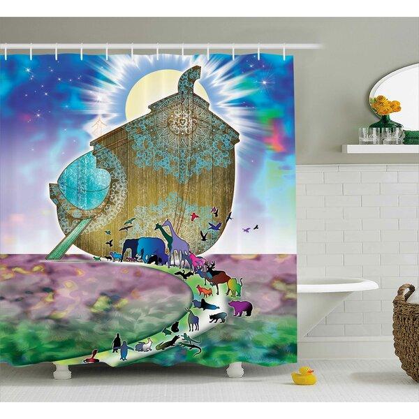 Mystic Noah Ark Couple Animals Shower Curtain by East Urban Home