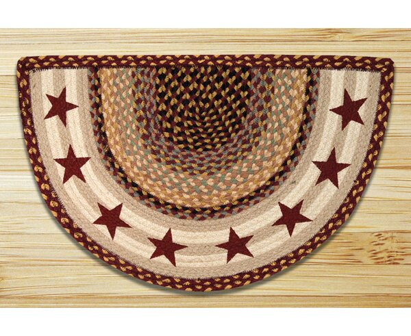 Burgundy Stars Printed Slice Rug by Earth Rugs