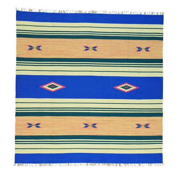 One-of-a-Kind Toomer Flat Weave Killim Reversible Hand-Knotted Cotton Blue Area Rug by Millwood Pines