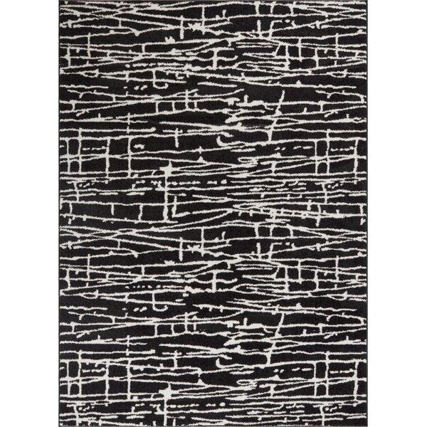 Honaye Modern Geo Lines Black/White Area Rug by Bloomsbury Market