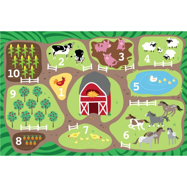 Count the Farm Activity Green/Brown Area Rug by ECR4kids