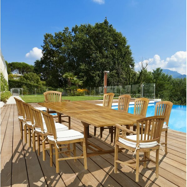 Bauman 11 Piece Teak Dining Set with Cushions by Darby Home Co