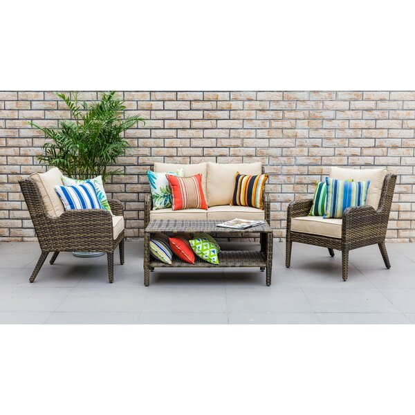 Spicer Outdoor 4 Piece Rattan Sofa Seating Group with Cushion by Bay Isle Home