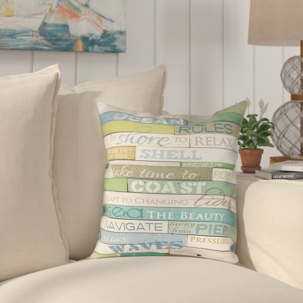 Kurt Ocean Rules Indoor/Outdoor Throw Pillow By Rosecliff Heights