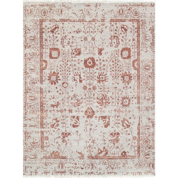 Pasargad Hand-Knotted Silk and Wool Beige/Red Area Rug by Pasargad
