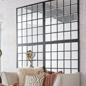Rectangle Antique Black Window Mirror
