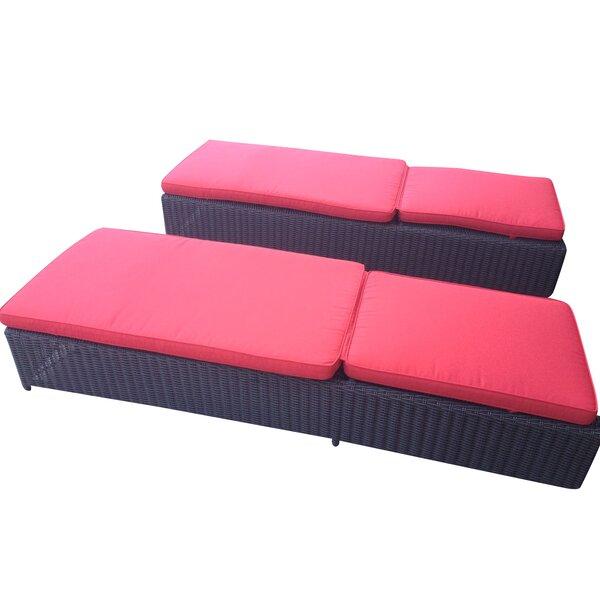 Marietta Outdoor Reclining Chaise Lounge With Cushion (Set of 2) by Brayden Studio Brayden Studio