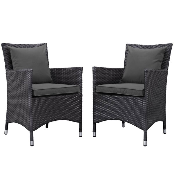 Ilminster Patio Dining Chair with Cushion (Set of 2) by August Grove