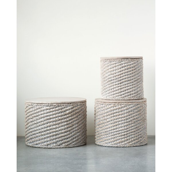 Imes Woven Water Hyacinth 3 Piece Nesting Tables By Bungalow Rose