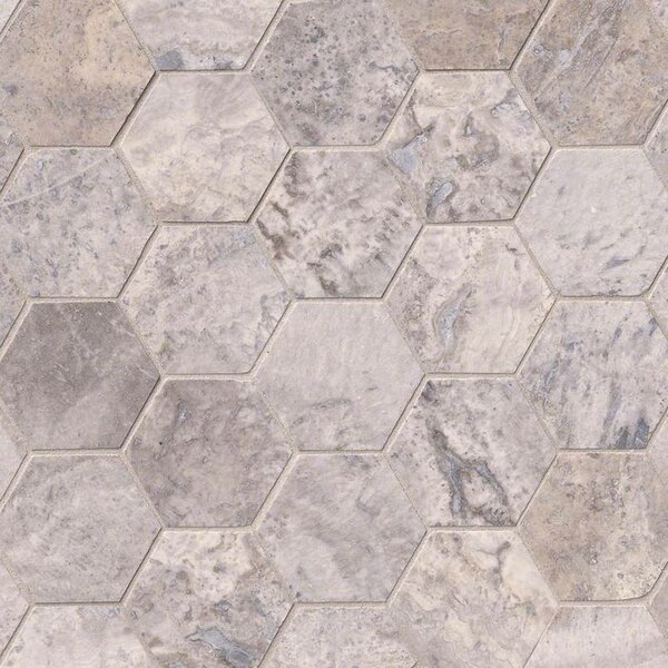 Hexagon 3 x 3 Travertine Tile in Gray by MSI