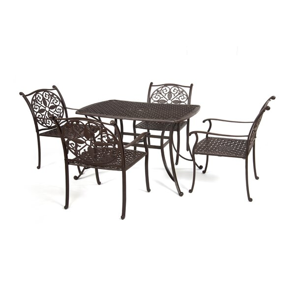 Hereford Cast Aluminum 5 Piece Dining Set by Alcott Hill