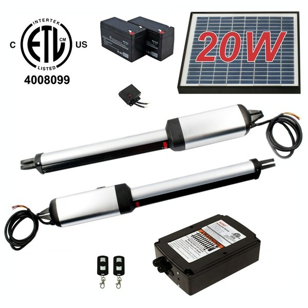 Dual Swing Gate Operator ETL Listed Solar Kit by ALEKO