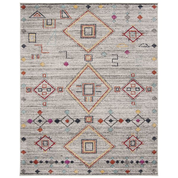 Alisa Light Gray/Red Area Rug by Bungalow Rose