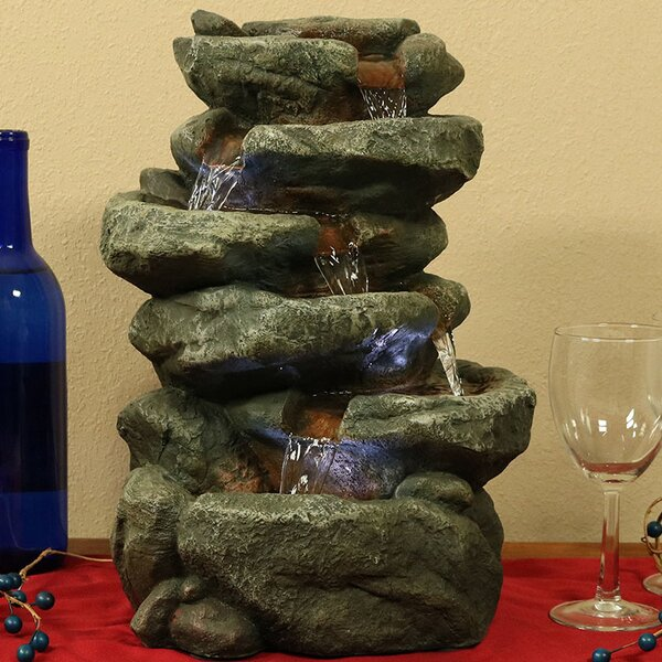 Ramon Fiberglass 6-Tier Stone Falls Tabletop Water Fountain with Light by Millwood Pines