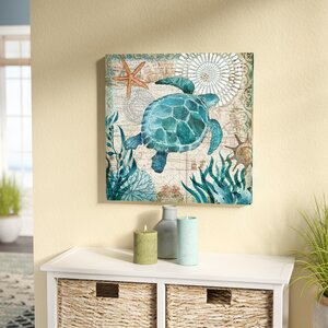 'Monterey Bay Turtle' Graphic Art Print on Wrapped Canvas by Beachcrest Home