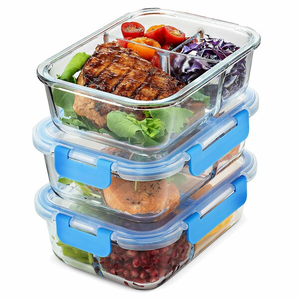 Cecelia Glass Meal Prep 30 Oz. Food Storage Container (Set of 3) by Rebrilliant