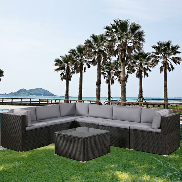 Misael 7 Pieces Rattan Sectional Seating Group with Cushions