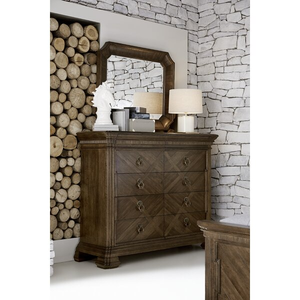 Chingford Barrel Stave 10 Drawer Double Dresser with Mirror by Canora Grey