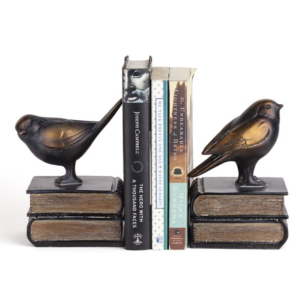 Cranon Bird on Book Bookends Set (Set of 2) by Loo