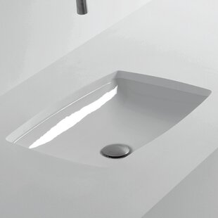 Compare H10 Ceramic Rectangular Undermount Bathroom Sink ByWS Bath Collections