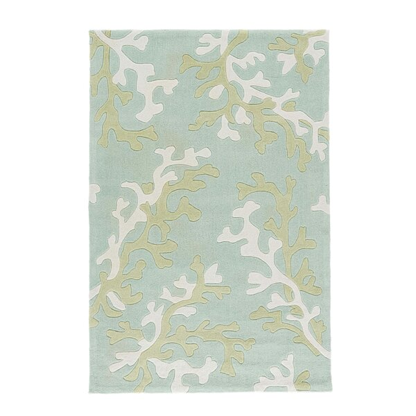 Parkmont Coral Fixation Turquoise Blue & White Area Rug by Rosecliff Heights
