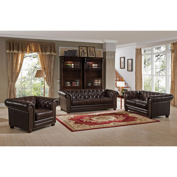 Kensington 3 Piece Leather Living Room Set by Amax
