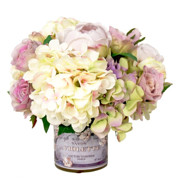 Mixed Hydrangea and Rose Arrangement in Decoupage Pot by One Allium Way