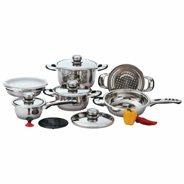 Heavy-Gauge 12 Piece Stainless Steel Cookware Set by Chef's Secret