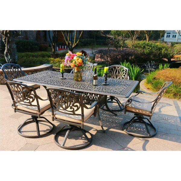 Balzer Aluminum 7 Piece Sunbrella Dining Set With Sunbrella Cushions By Canora Grey