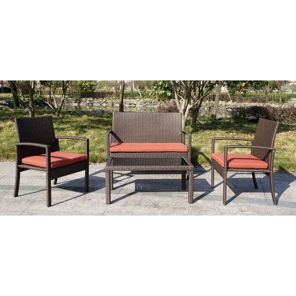 Sheilah 4 Piece Rattan Sofa Seating Group with Cushions by Ivy Bronx