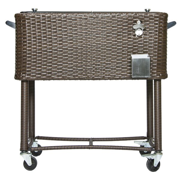 80 Qt. Wicker Patio Rolling Cooler by Permasteel