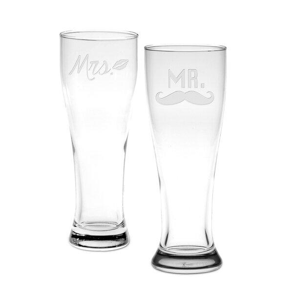 Castor Mr. & Mrs. Pilsner Glass (Set of 2) by Mint Pantry