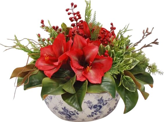 Amaryllis Centerpiece in Pot by Red Barrel Studio