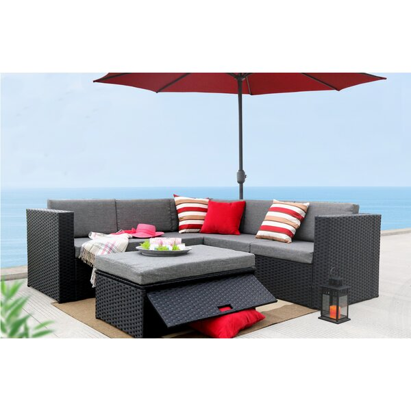 McNab 4 Piece Rattan Sectional Seating Group With Cushions By Sol 72 Outdoor
