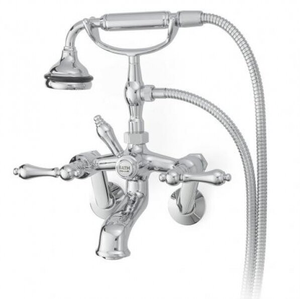 Double Handle Wall Mounted Clawfoot Tub Faucet Trim with Diverter and Handshower by Cheviot Products Cheviot Products