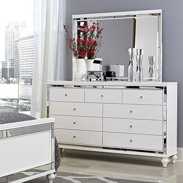 Rivage 9 Drawer Dresser with Mirror by Willa Arlo Interiors