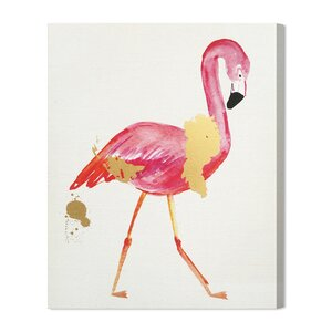 Glam Flamingo Painting Print on Wrapped Canvas by Mercer41