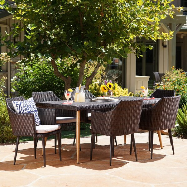 Abrams 7 Piece Dining Set with Cushions by George Oliver