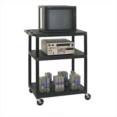 High Low Priced Open Shelf Table AV Cart with Electric/Big Wheels by Luxor