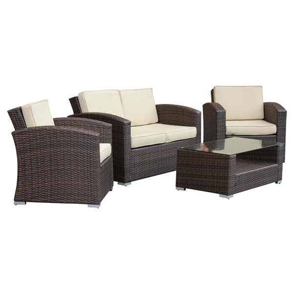 Sabrina 4 Piece Rattan Sofa Seating Group With Cushions By Mistana by Mistana Best Design