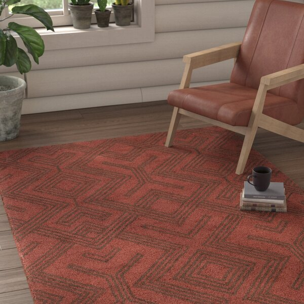 Litwin Hand-Tufted Red/Chocolate Area Rug by Union Rustic