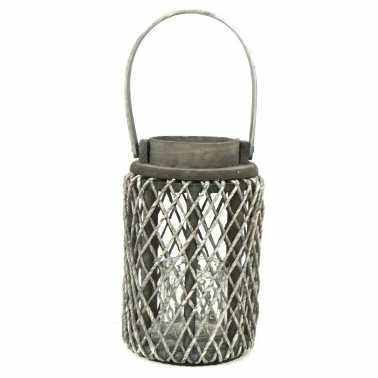 Rope/Wood Lantern by Rosecliff Heights