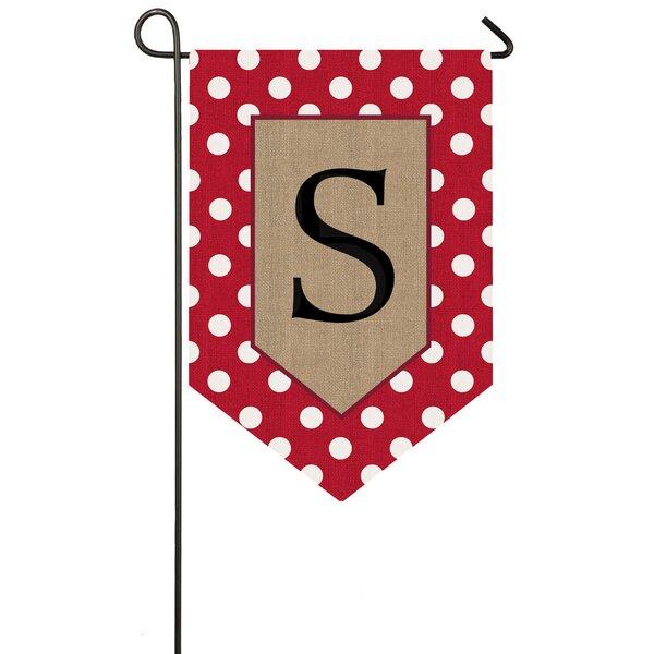 Polka-Dot Welcome Monogram 2-Sided Garden Flag by