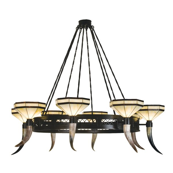 Beauchamp 8 - Light Shaded Wagon Wheel Chandelier By Millwood Pines